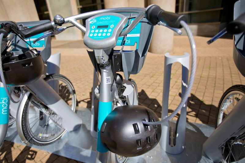 Mobi bike with cable for helmet